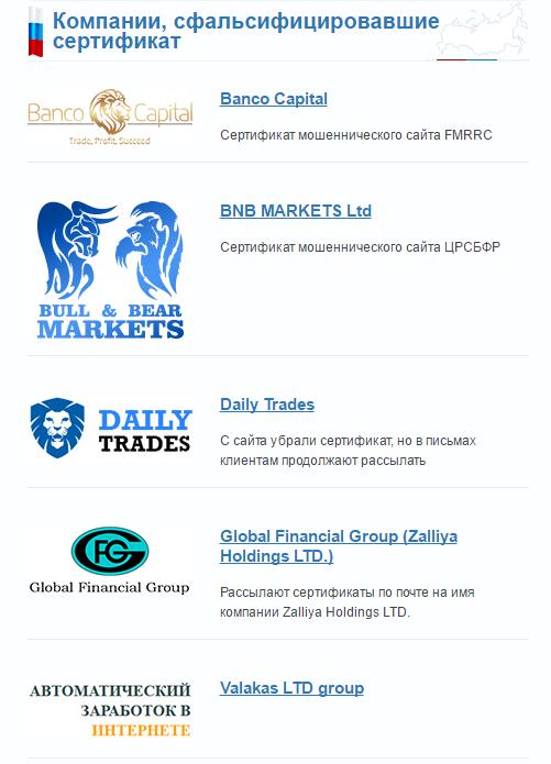 Компании, сфальсифицировавшие сертификат ЦРОФР